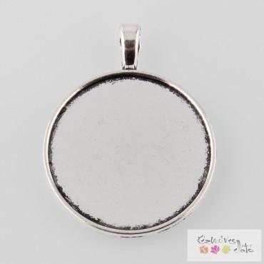 Kerek kaboson alap - antik ezüst szín 30mm