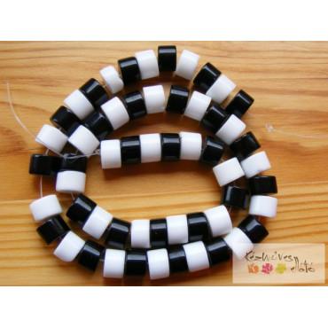 Fehér és fekete rondell gyöngy10db