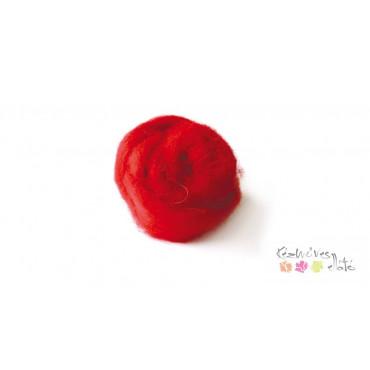 Gyapjú, kártolt - piros 100g