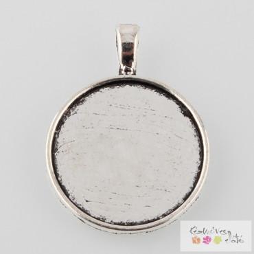 Kerek kaboson alap 2db/cs - antik ezüst szín 25mm