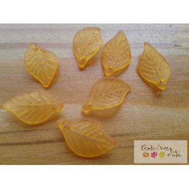 Akril levél medál - opálos narancs 20db/cs